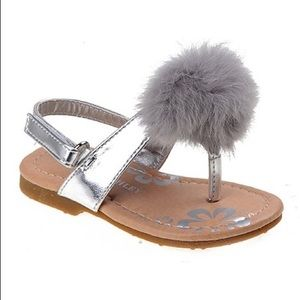 Toddler Girl Faux Fur PomPom Sandal